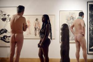 """Shantal Myers (C) takes part in a naked tour of the new exhibit called """"Getting Naked"""" at THEMUSEUM in Kitchener"""