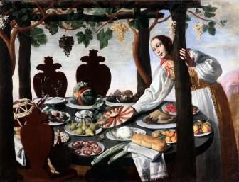 Pittore fiorentino della metà del '600, Donna che imbandisce tavola, olio su tela