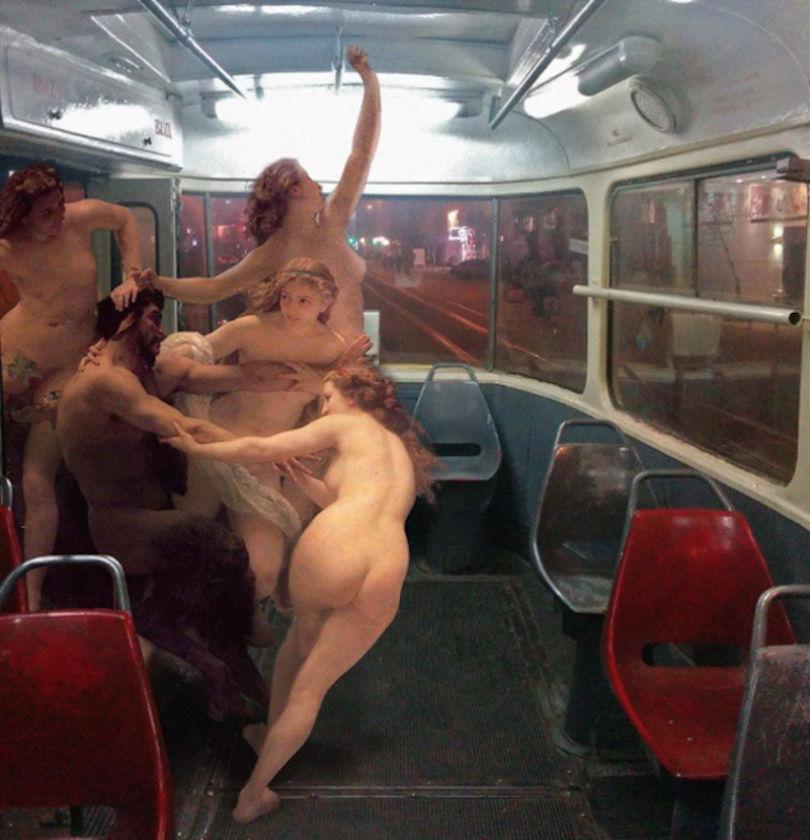 Nymphes et un satyre de Bouguereau. Collage © Alexey Kondakov
