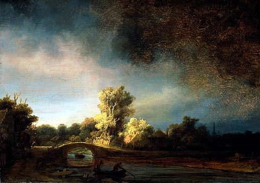Rembrandt. Il ponte di pietra, 1638