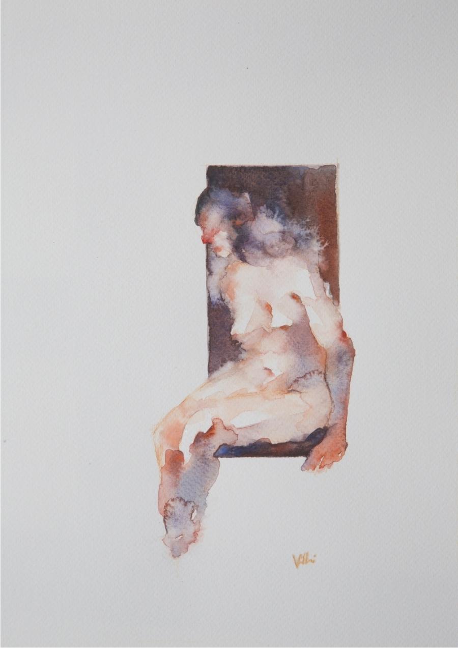 Valerio_Villani_3_ WAITING_acquerello su carta_cm25x35