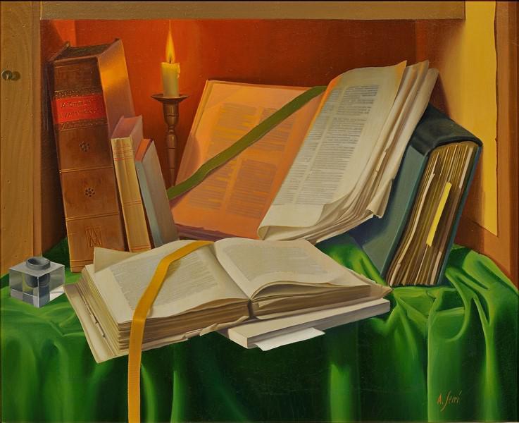 Alfredo-Serri--Libri-a-lume-di-candela-II--olio-su-tela