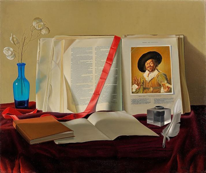 Alfredo-Serri--Libri--nastro-di-argentaria--nastro-rosso--olio-su-tela